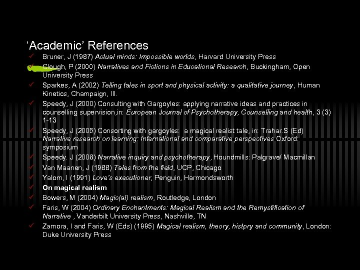 'Academic' References ü ü ü Bruner, J (1987) Actual minds: Impossible worlds, Harvard University