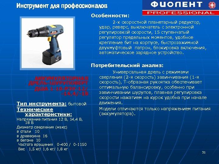 Инструмент для профессионалов Особенности: 2 -х скоростной планетарный редуктор, удар, реверс, выключатель с электронной