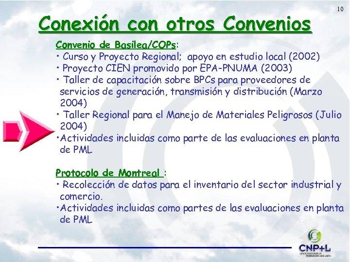 Conexión con otros Convenios 10 Convenio de Basilea/COPs: • Curso y Proyecto Regional; apoyo