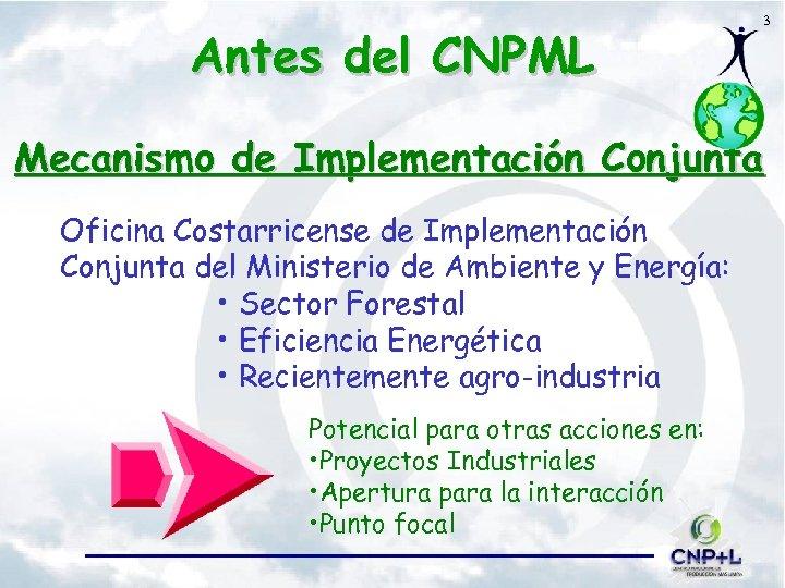 Antes del CNPML 3 Mecanismo de Implementación Conjunta Oficina Costarricense de Implementación Conjunta del