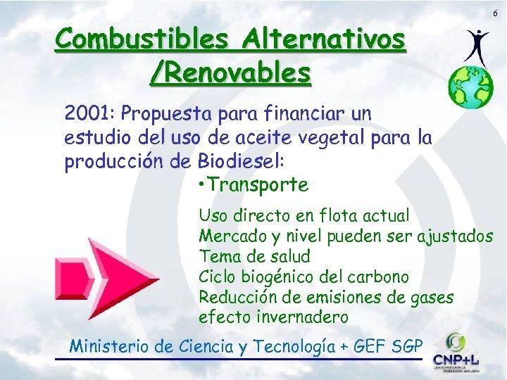 Combustibles Alternativos /Renovables 6 2001: Propuesta para financiar un estudio del uso de aceite