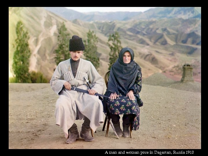 A man and woman pose in Dagestan, Russia 1910
