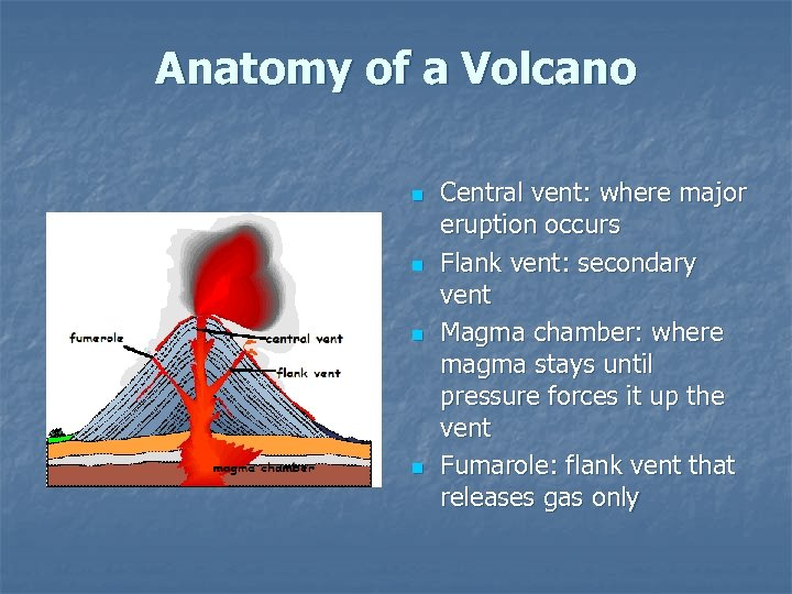 Anatomy of a Volcano n n Central vent: where major eruption occurs Flank vent: