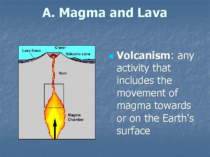 A. Magma and Lava n Volcanism: any activity that includes the movement of magma