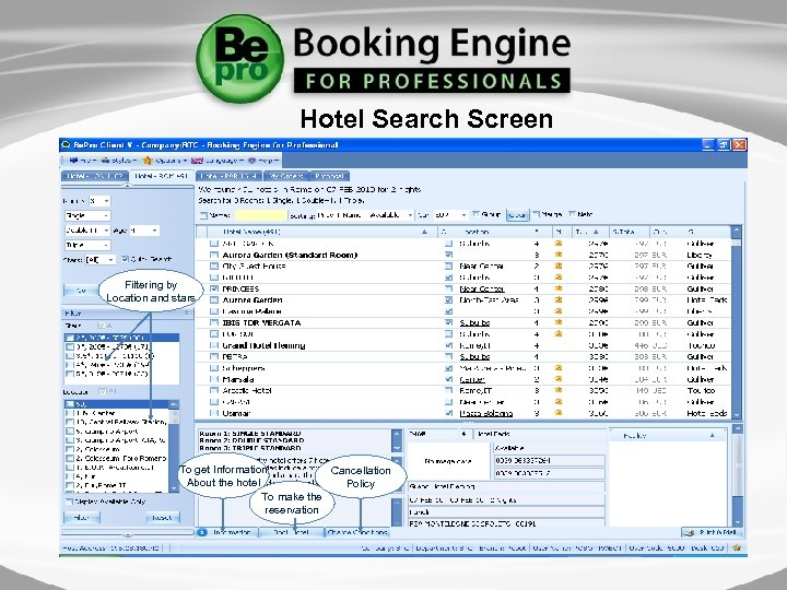 Hotel Search Screen Filtering by Location and stars To get Information Cancellation About the
