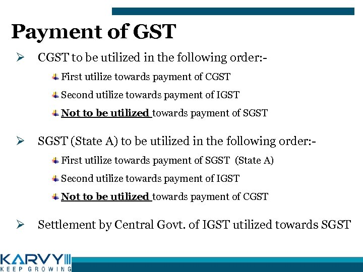 Payment of GST Ø CGST to be utilized in the following order: First utilize