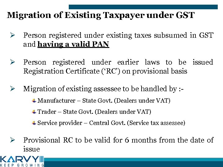 Migration of Existing Taxpayer under GST Ø Person registered under existing taxes subsumed in