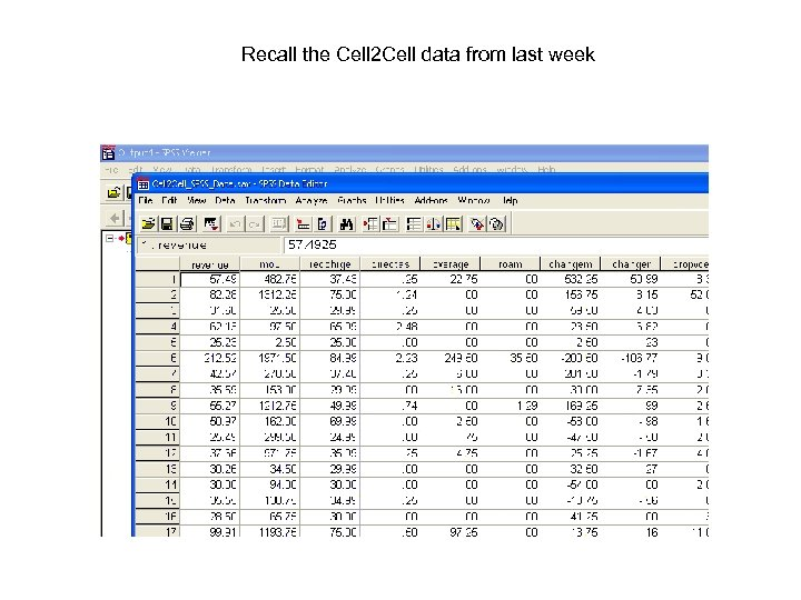 Recall the Cell 2 Cell data from last week