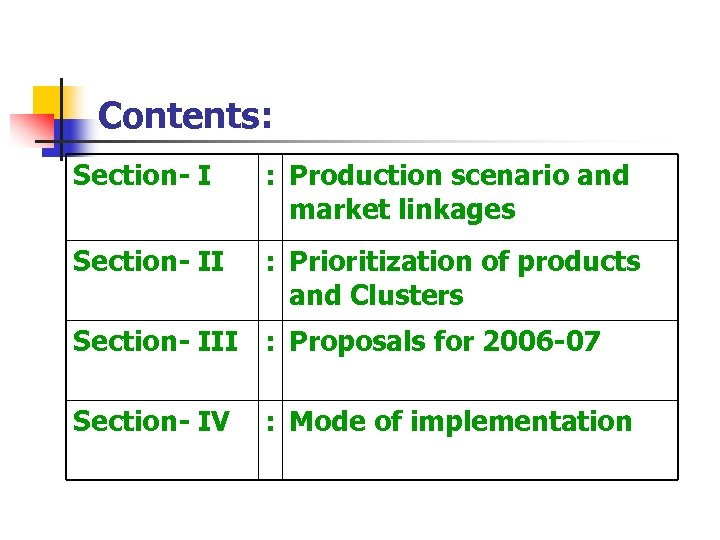 Contents: Section- I : Production scenario and market linkages Section- II : Prioritization of