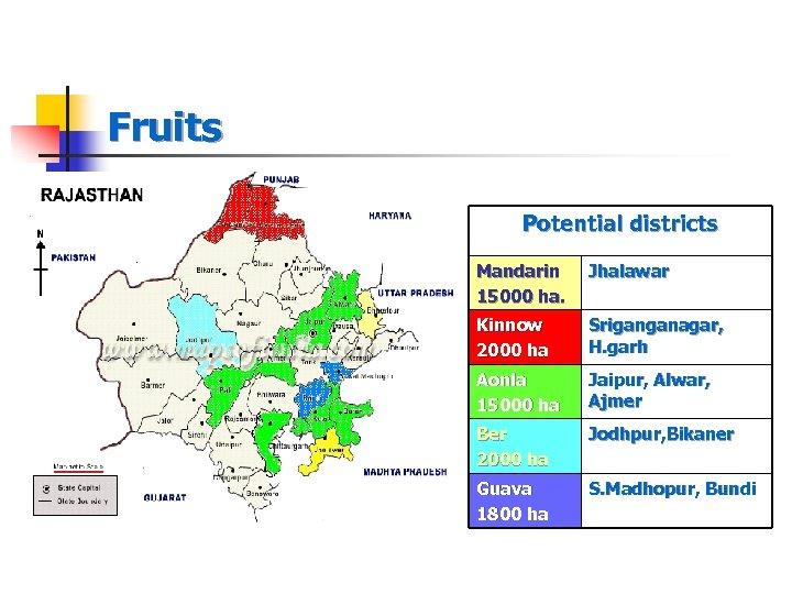 Fruits Potential districts Mandarin 15000 ha. Jhalawar Kinnow 2000 ha Sriganganagar, H. garh Aonla
