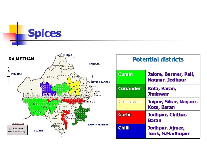 Spices Potential districts Cumin Jalore, Barmer, Pali, Nagaur, Jodhpur Coriander Kota, Baran, Jhalawar Fenugreek
