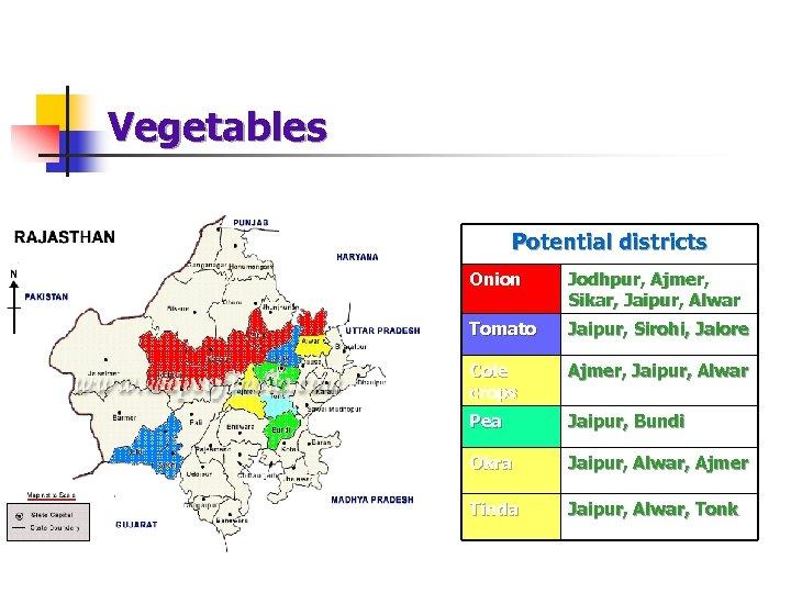 Vegetables Potential districts Onion Jodhpur, Ajmer, Sikar, Jaipur, Alwar Tomato Jaipur, Sirohi, Jalore Cole