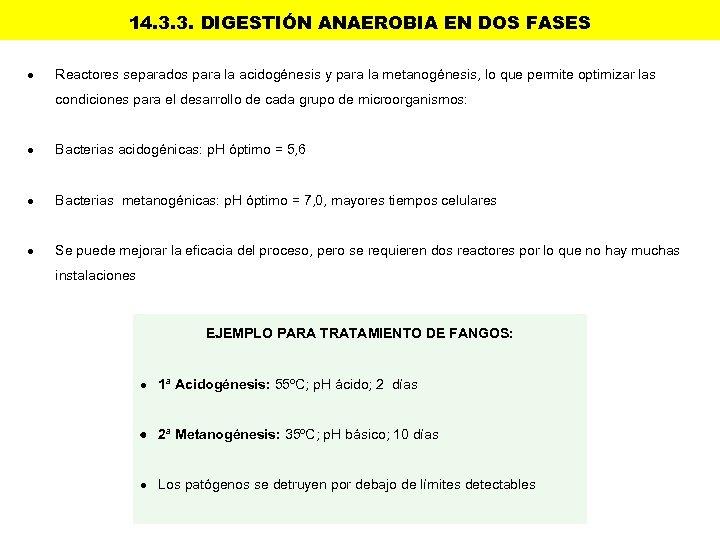 14. 3. 3. DIGESTIÓN ANAEROBIA EN DOS FASES Reactores separados para la acidogénesis y
