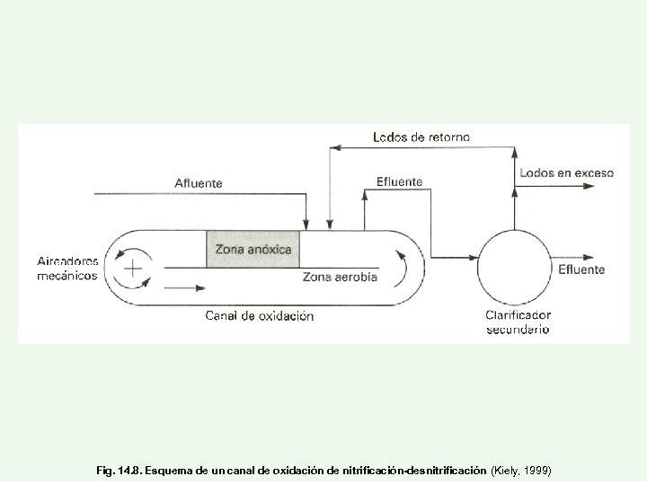 Fig. 14. 8. Esquema de un canal de oxidación de nitrificación-desnitrificación (Kiely, 1999)