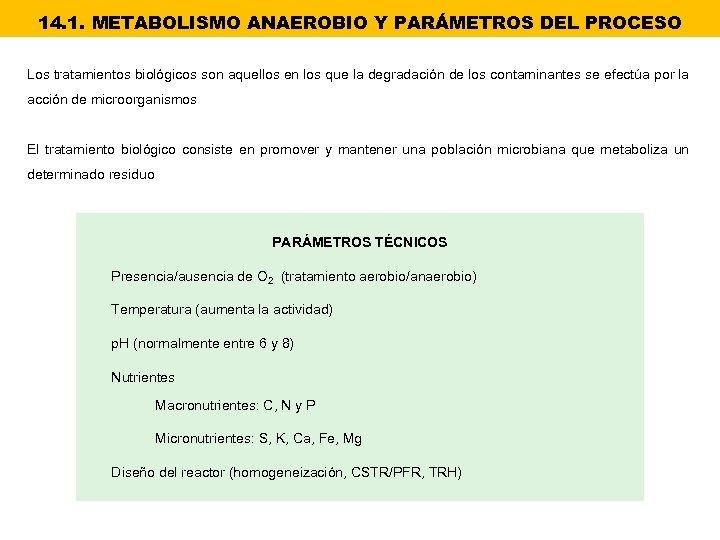 14. 1. METABOLISMO ANAEROBIO Y PARÁMETROS DEL PROCESO Los tratamientos biológicos son aquellos en