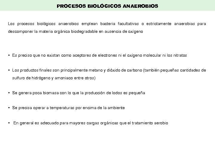 PROCESOS BIOLÓGICOS ANAEROBIOS Los procesos biológicos anaerobios emplean bacteria facultativas o estrictamente anaerobias para
