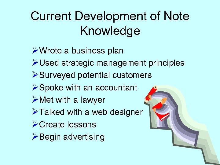 Current Development of Note Knowledge ØWrote a business plan ØUsed strategic management principles ØSurveyed