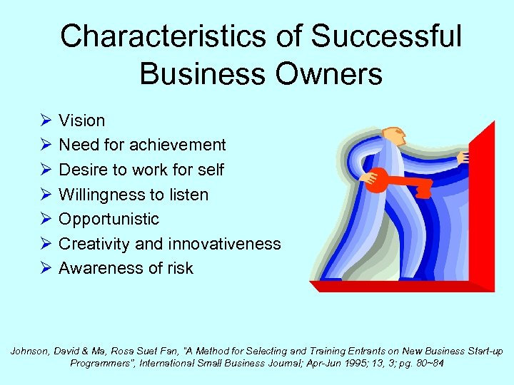 Characteristics of Successful Business Owners Ø Ø Ø Ø Vision Need for achievement Desire