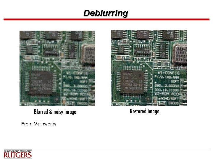 Deblurring From Mathworks