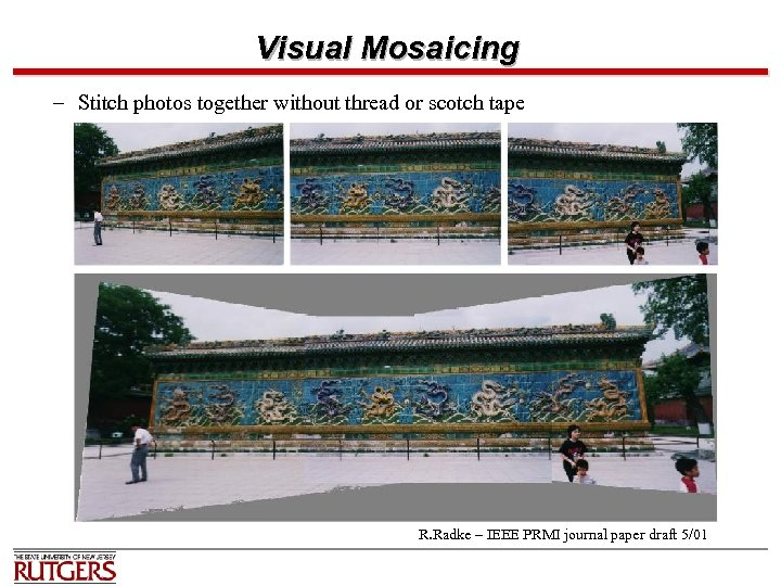 Visual Mosaicing – Stitch photos together without thread or scotch tape R. Radke –
