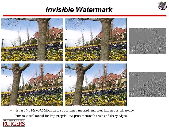 Invisible Watermark – 1 st & 30 th Mpeg 4. 5 Mbps frame of