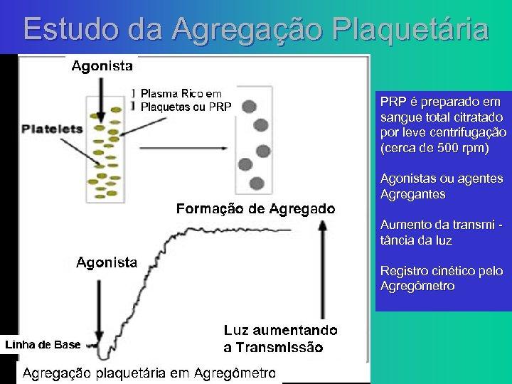 Estudo da Agregação Plaquetária PRP é preparado em sangue total citratado por leve centrifugação