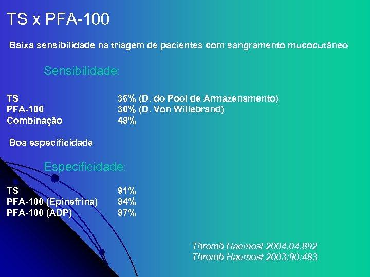 TS x PFA-100 Baixa sensibilidade na triagem de pacientes com sangramento mucocutâneo Sensibilidade: TS
