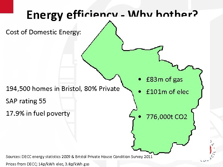 Energy efficiency - Why bother? Cost of Domestic Energy: • £ 83 m of