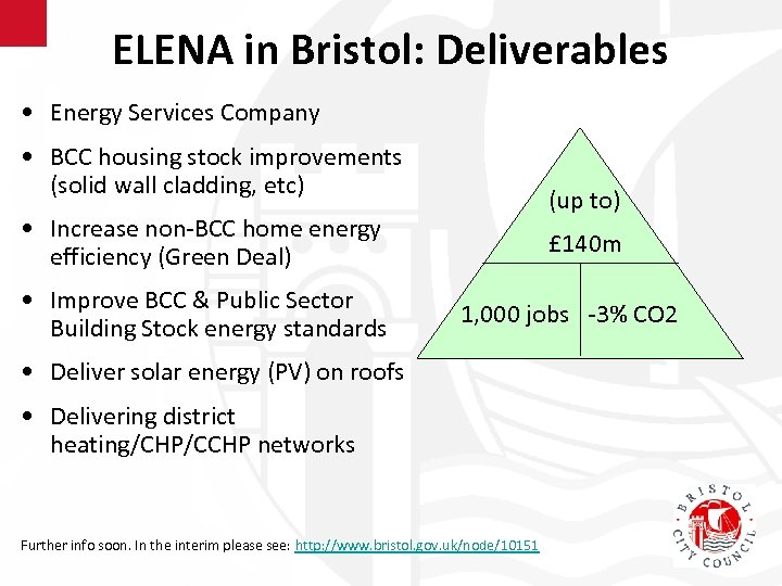 ELENA in Bristol: Deliverables • Energy Services Company • BCC housing stock improvements (solid