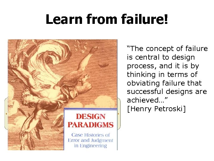 """Learn from failure! """"The concept of failure is central to design process, and it"""