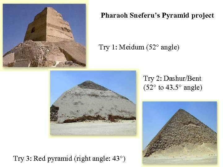 Pharaoh Sneferu's Pyramid project Try 1: Meidum (52 angle) Try 2: Dashur/Bent (52 to