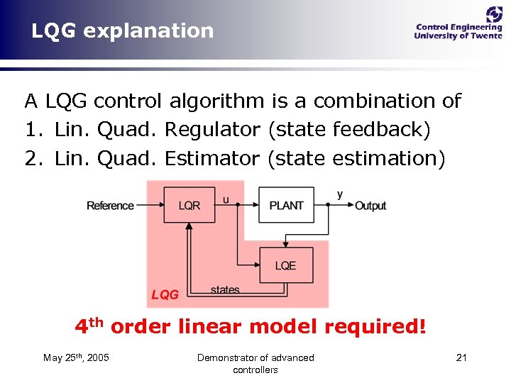 LQG explanation A LQG control algorithm is a combination of 1. Lin. Quad. Regulator