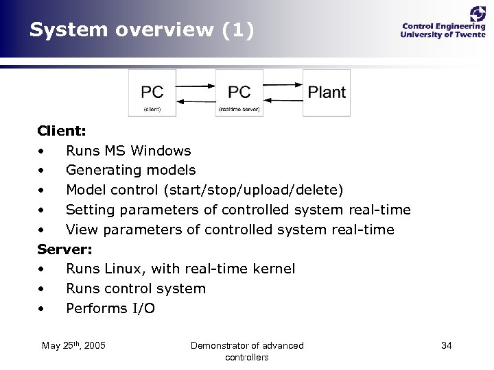 System overview (1) Client: • Runs MS Windows • Generating models • Model control