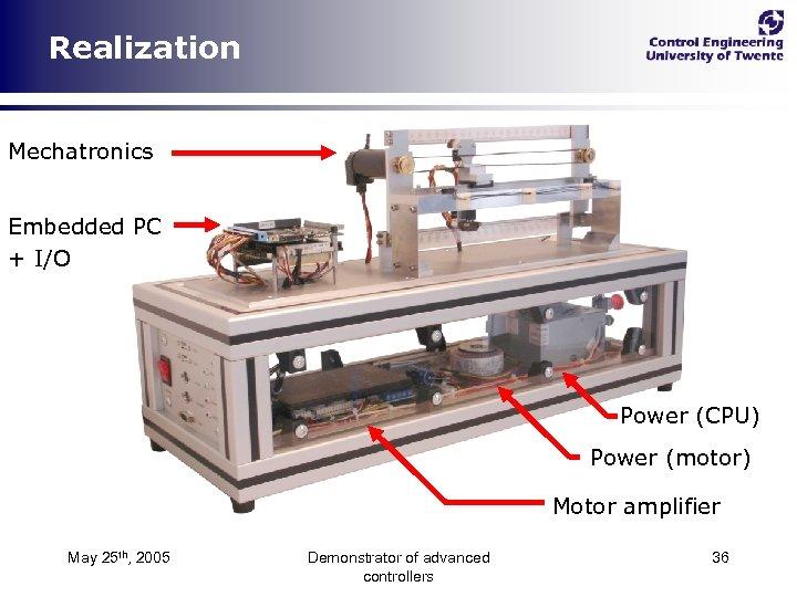 Realization Mechatronics Embedded PC + I/O Power (CPU) Power (motor) Motor amplifier May 25