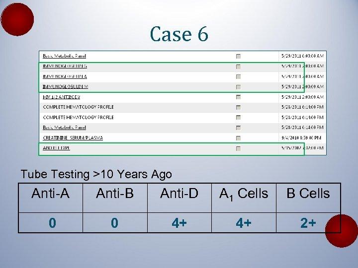 Case 6 Tube Testing >10 Years Ago Anti-A Anti-B Anti-D A 1 Cells B