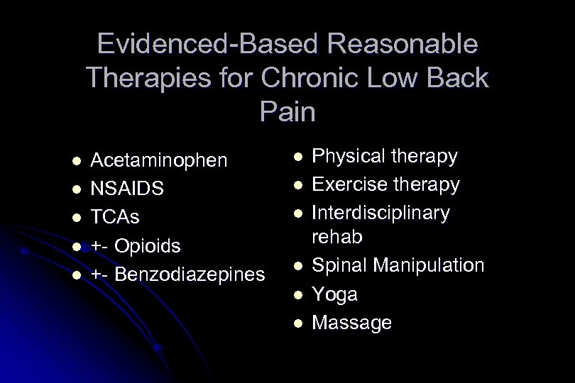 Evidenced-Based Reasonable Therapies for Chronic Low Back Pain l l l Acetaminophen NSAIDS TCAs