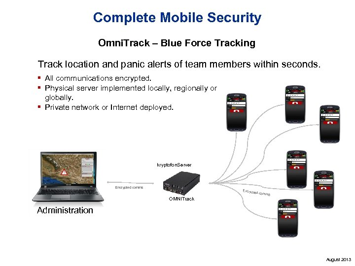 Complete Mobile Security Omni. Track – Blue Force Tracking Track location and panic alerts