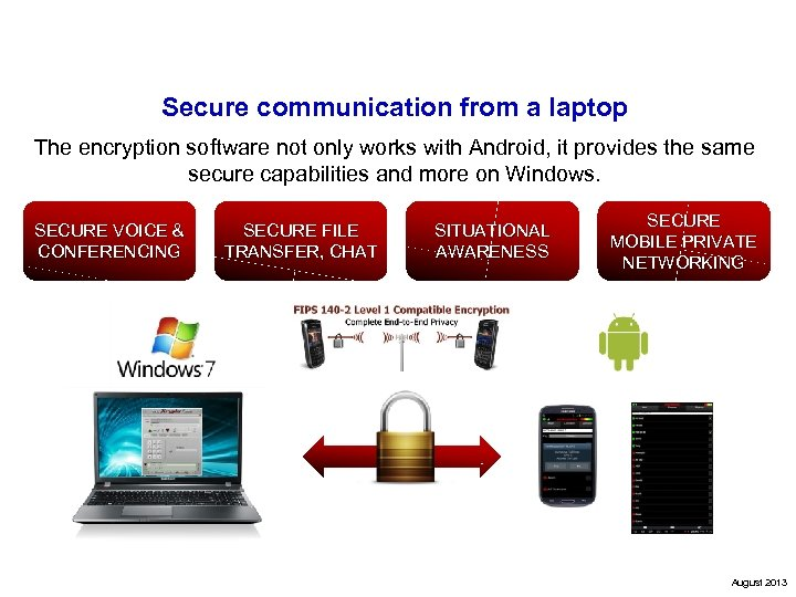 Secure communication from a laptop The encryption software not only works with Android, it