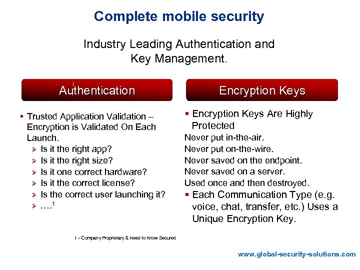 Complete mobile security Industry Leading Authentication and Key Management. Authentication § Trusted Application Validation