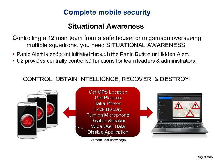 Complete mobile security Situational Awareness Controlling a 12 man team from a safe house,