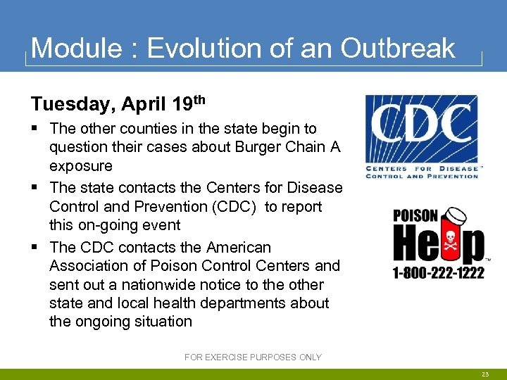 Module : Evolution of an Outbreak Tuesday, April 19 th § The other counties