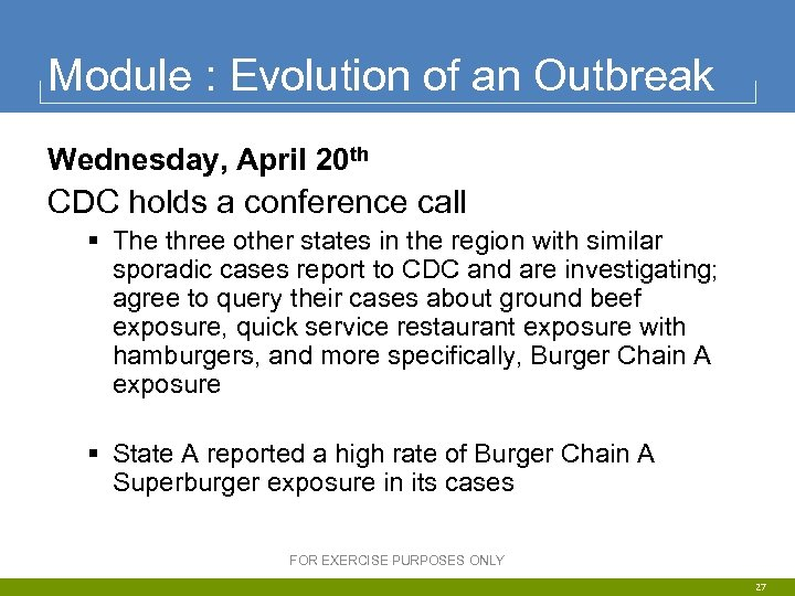 Module : Evolution of an Outbreak Wednesday, April 20 th CDC holds a conference