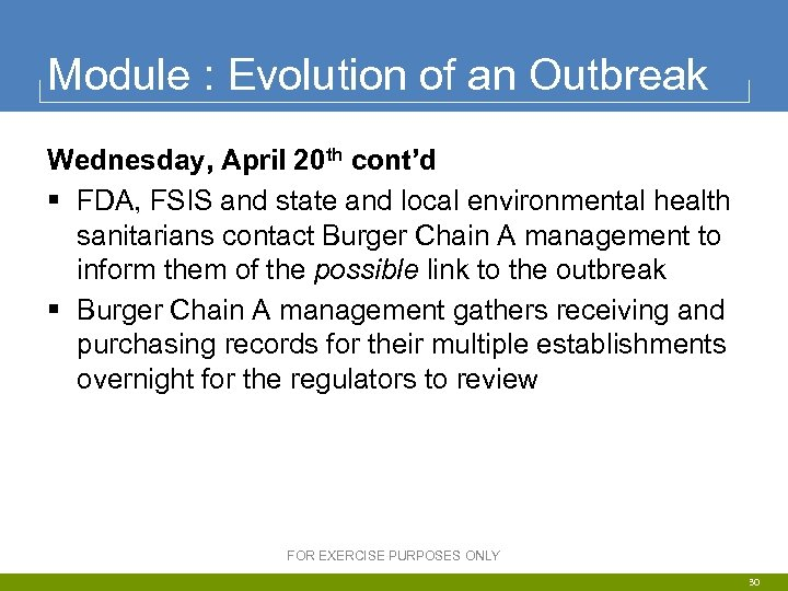 Module : Evolution of an Outbreak Wednesday, April 20 th cont'd § FDA, FSIS