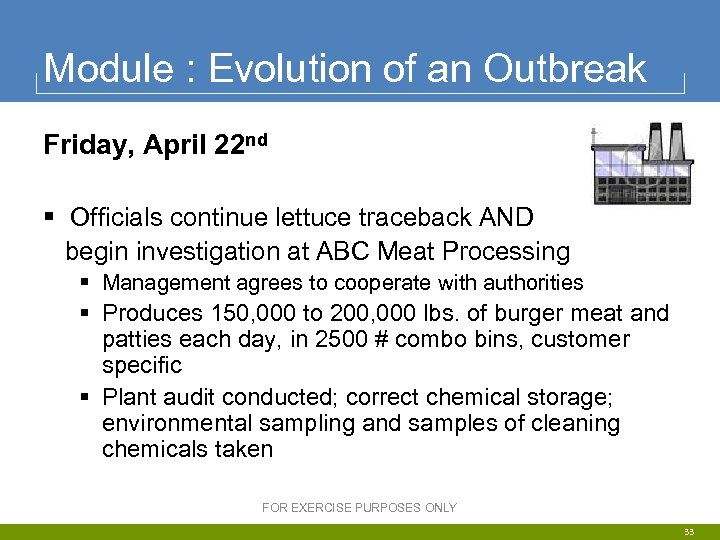 Module : Evolution of an Outbreak Friday, April 22 nd § Officials continue lettuce