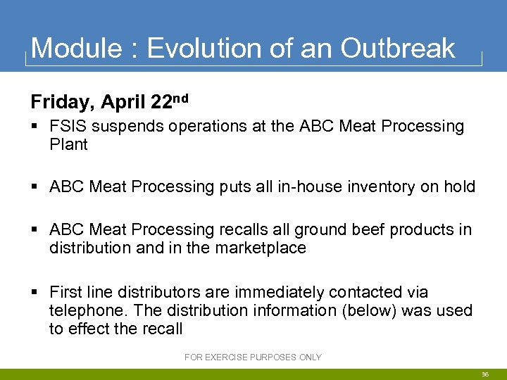 Module : Evolution of an Outbreak Friday, April 22 nd § FSIS suspends operations