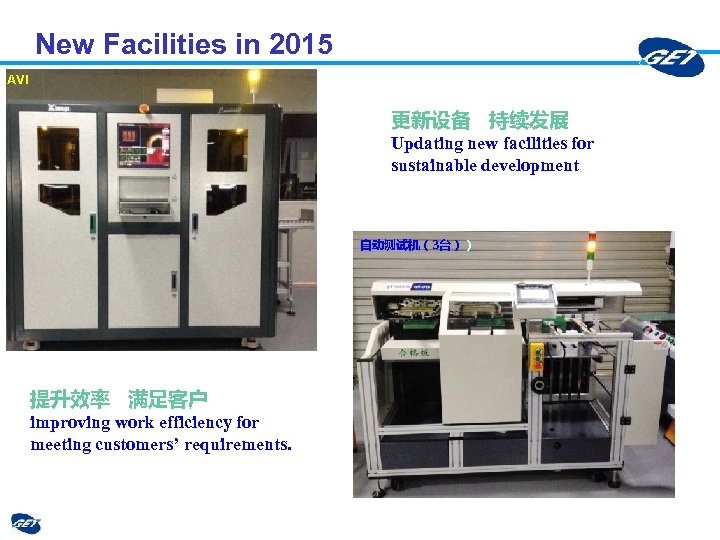 New Facilities in 2015 AVI 更新设备 持续发展 Updating new facilities for sustainable development 自动测试机(3台))