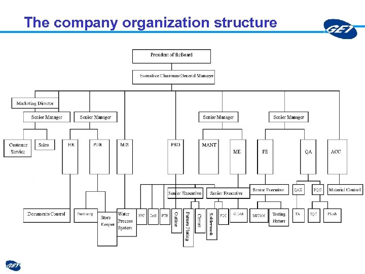 The company organization structure