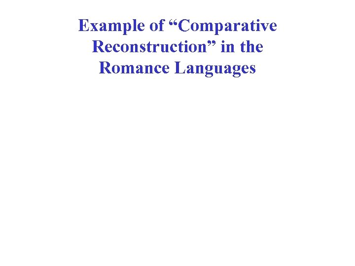 """Example of """"Comparative Reconstruction"""" in the Romance Languages"""