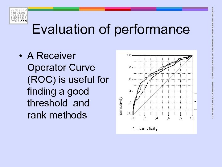 • A Receiver Operator Curve (ROC) is useful for finding a good threshold