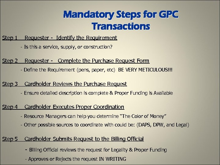 Mandatory Steps for GPC Transactions Step 1 Requester - Identify the Requirement - Is